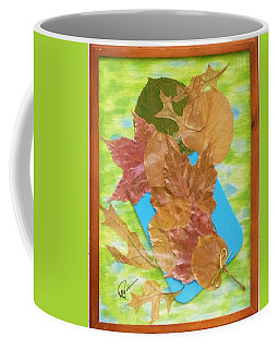 Coffee Mug featuring the mixed media Bouquet From Fallen Leaves by Elly Potamianos