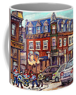 Boys Of St Dominique And Pine Avenue Hockey Art Montreal Plateau Winter Scenes C Spandau Quebec Coffee Mug