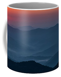 Coffee Mug featuring the photograph Brasstop Bald Sunrise Panorama by Andy Crawford