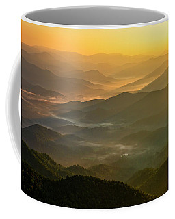Coffee Mug featuring the photograph Brasstown Bald Mists by Andy Crawford