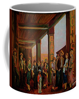 Coffee Mug featuring the painting Bread Line by Donna Hall