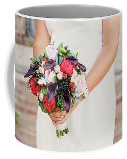 Bridal Bouquet Held By Her With Her Hands At Her Wedding Coffee Mug