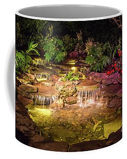 Brilliantly Lit Waterfall At Night Coffee Mug