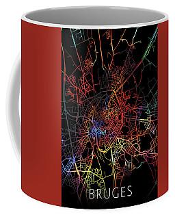 Bruges Belgium City Street Map Watercolor Dark Mode Coffee Mug