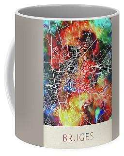 Bruges Belgium Watercolor City Street Map Coffee Mug