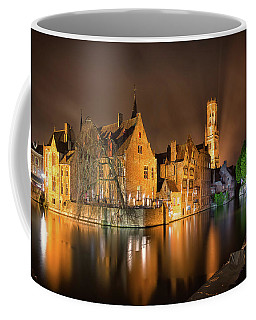 Coffee Mug featuring the photograph Brugge Belgium Belfry Night by Nathan Bush