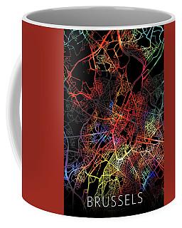 Brussels Belgium City Street Map Watercolor Dark Mode Coffee Mug
