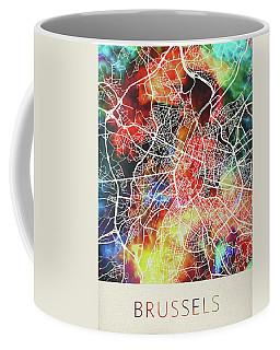Brussels Belgium Watercolor City Street Map Coffee Mug