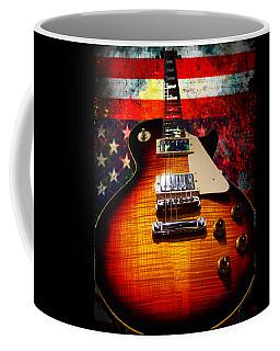 Burst Guitar American Flag Background Coffee Mug