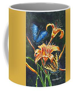 Butterflies And Flowers Sketch Coffee Mug