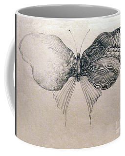 Coffee Mug featuring the drawing Butterfly For Jeffrey by Rosanne Licciardi