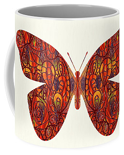 Coffee Mug featuring the digital art Butterfly Illustration Art - Complex Realities - Omaste Witkowski by Omaste Witkowski