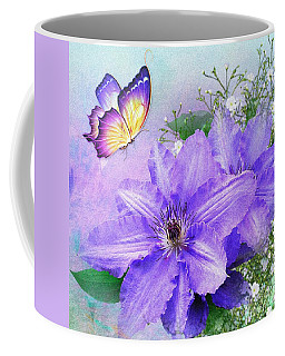 Butterfly On Clematis Coffee Mug