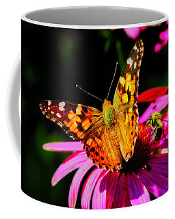 Coffee Mug featuring the photograph Butterfly Wings Open by Meta Gatschenberger