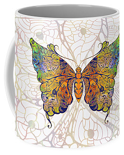 Coffee Mug featuring the digital art Butterfly Zen Meditation Abstract Digital Mixed Media Artwork By Omaste Witkowski by Omaste Witkowski