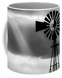 Coffee Mug featuring the photograph Bw Windmill And Crepuscular Rays -01 by Rob Graham