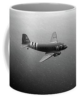 C-47 Skytrain Over The Channel Bw Version Coffee Mug