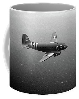 C-47 Skytrain Over The Channel Bw Version Coffee Mug