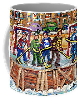 Calgary Flames Ottawa Sens Toronto Leafs Canadiens Oilers Boston Bruins Hockey Art Outdoor Rinks Coffee Mug