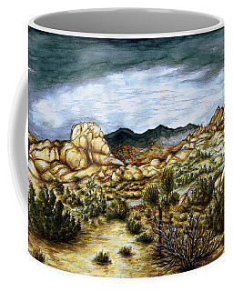 California Desert Landscape - Watercolor Art Painting Coffee Mug