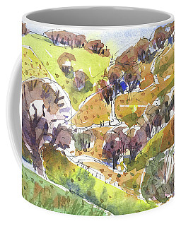 Coffee Mug featuring the painting California Winter Landscape by Judith Kunzle