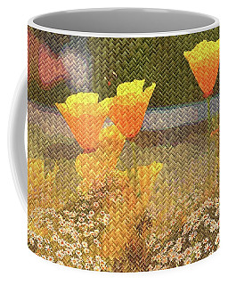 Californian Poppies On Basket Weave Coffee Mug