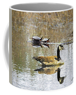 Canada Goose And Two Painted Turtles Together In A New England M Coffee Mug