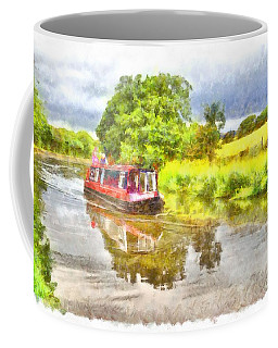 Canal Boat On The Leeds To Liverpool Canal Coffee Mug