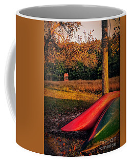 Coffee Mug featuring the pyrography Canoes And A Boathouse by Rachel Hannah