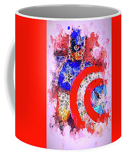 Captain America Watercolor Coffee Mug