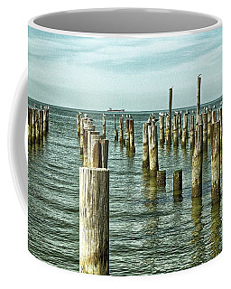 Coffee Mug featuring the photograph Casino Pilings At Cape Charles Virginia by Bill Swartwout Fine Art Photography