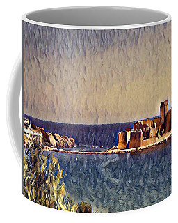 Coffee Mug featuring the digital art Castle In Sea by Lucia Sirna
