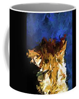 Cat And The Cobalt Blue Wall Coffee Mug