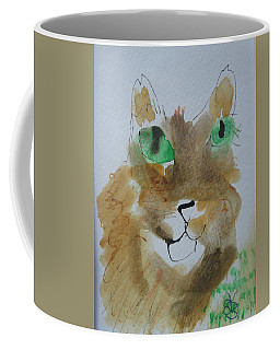 Cat Face Yellow Brown With Green Eyes Coffee Mug