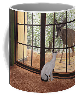 Cat Meets Deer Coffee Mug