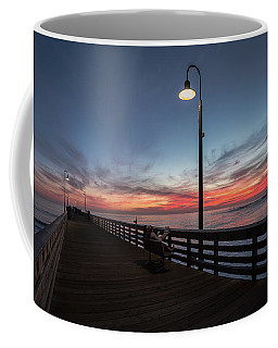 Coffee Mug featuring the photograph Cayucos Pier Sunset by Mike Long