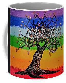 Coffee Mug featuring the drawing Chakra Love Tree by Aaron Bombalicki