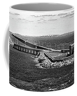 Coffee Mug featuring the photograph Chesapeake Bay Bridge Tunnel E S V A Black And White by Bill Swartwout Fine Art Photography