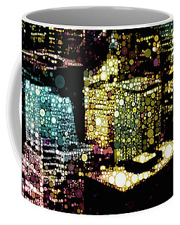 Coffee Mug featuring the mixed media Chicago City Lights by Susan Maxwell Schmidt