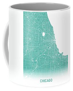 Chicago Map Teal Coffee Mug