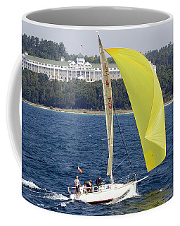 Coffee Mug featuring the photograph Chicago To Mackinac Yacht Race Sailboat With Grand Hotel by Rick Veldman