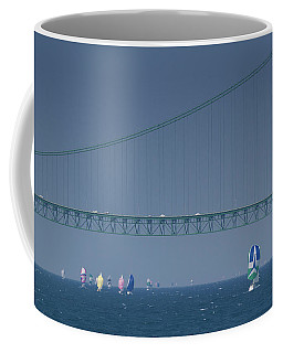Coffee Mug featuring the photograph Chicago To Mackinac Yacht Race Sailboats With Mackinac Bridge by Rick Veldman