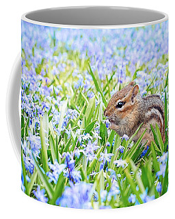 Chipmunk On Flowers Coffee Mug