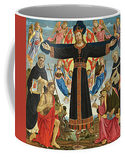 Christ On The Cross With Saints Vincent Ferrer, John The Baptist, Mark And Antoninus, 1495 Coffee Mug