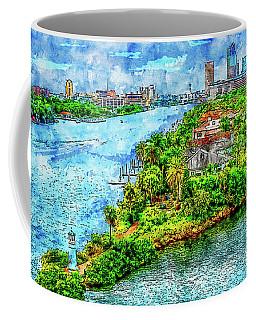 Cityscape Watercolor Drawing - Tampa Bay Coffee Mug