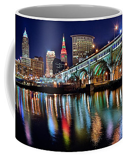 Cleveland Ohio Skyline Reflects Colorfully Coffee Mug