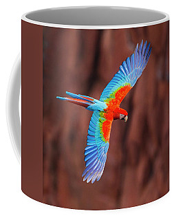 Close Up Of Flying Red-and-green Macaw Coffee Mug