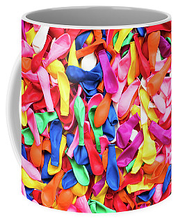 Close-up Of Many Colorful Children's Balloons, Background For Mo Coffee Mug