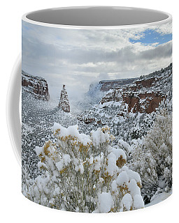 Clouds Break Over Snow Covered Independence Canyon Coffee Mug