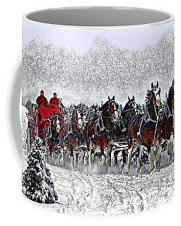 Clydesdales Hitch In Snow Coffee Mug